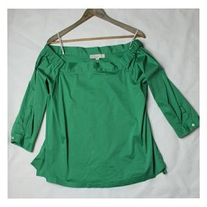 Kelly Green Ann Taylor Loft Off the Shoulder 3/4